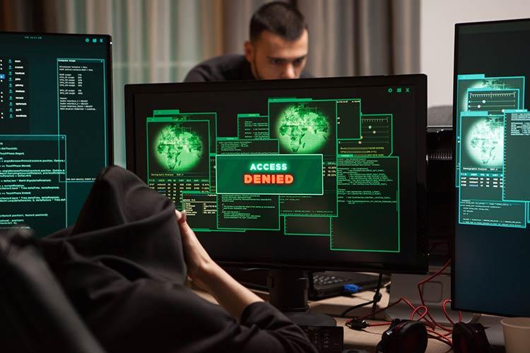 Hackers at a computer